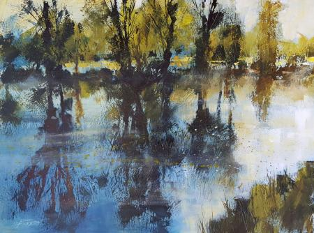 Springtime, trees reflecting in river, acrylic