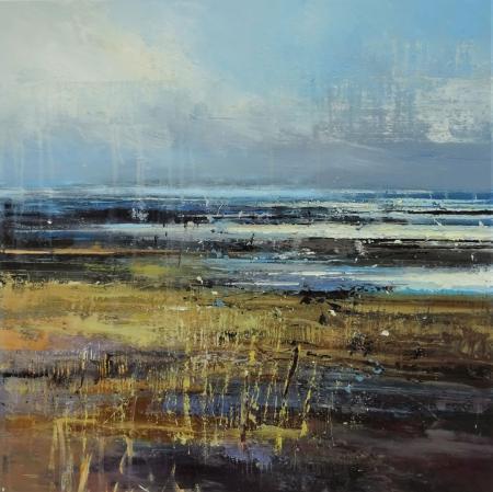 Marshland, sea hazy horizon, oil