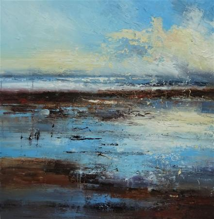 Marshland, sea, clouds against blue sky, oil