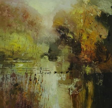 Forest, autumn colours, river, oil