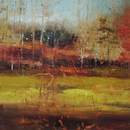 Forest scene, autumn colours, clearing, oil