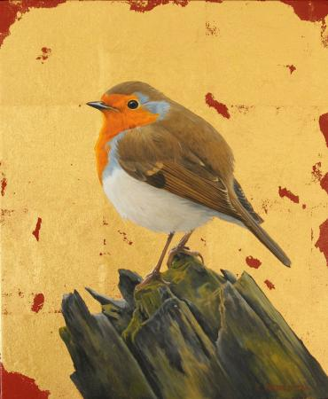 Robin, gold leaf and oil