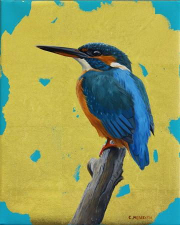 Kingfisher, gold leaf and oil
