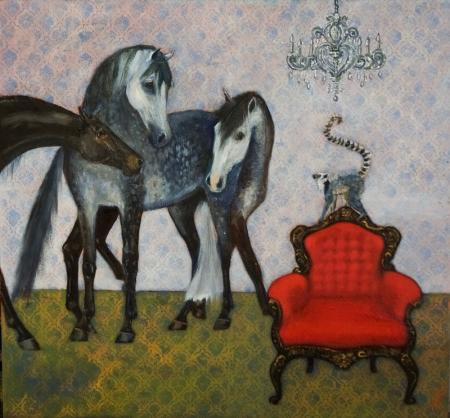 Dappled horses, monkey, red chair and chandelier, mixed media