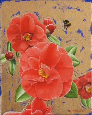 Camellias-&-Bumblebee-