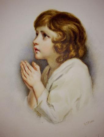 Girl kneeling and praying, watercolour
