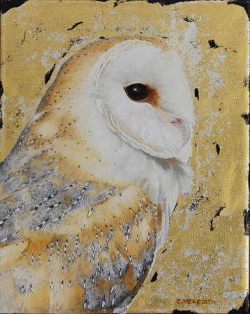 Barn-owl-portrait-10x8-oil,12ct-white-gold-