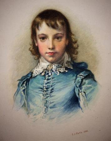 Boy, head and upper body dressed in period blue, watercolour