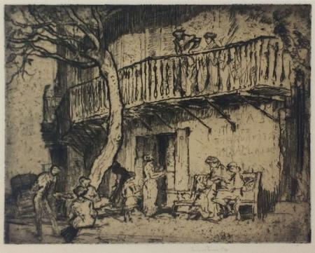 Outside view, people, bench and tree, etching