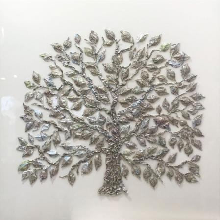 Tree made from london map, resin and mixed media