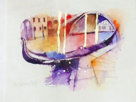 Gonola, bridge, venice, gold leaf & watercolour