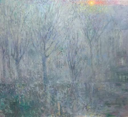 Mist, trees, winter sun, acrylic, oil, oil glazes, oil pastel