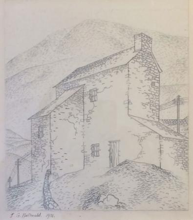 Narrow, two storey stone house, hill rising behind, watercolour