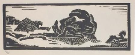 Stylised landscape with tree and hill, woodcut