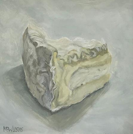 Brie, still life, oil on gesso