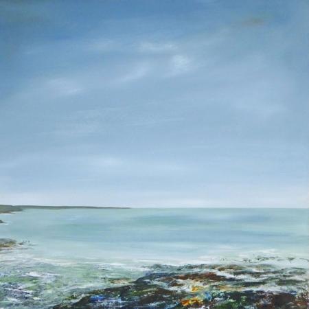Shoreline, big blue sky, acrylic