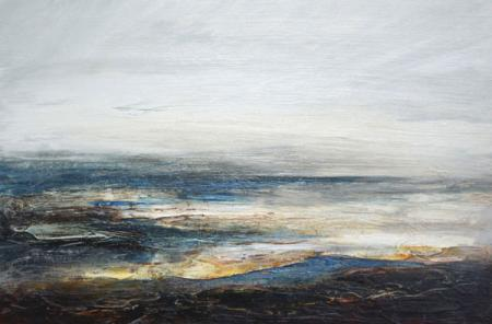 Shoreline, looking out to sea, evening light, acrylic