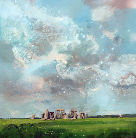 Stonehenge, big sky, acrylic