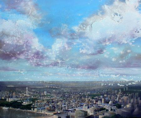 View from the shard, big sky, acrylic