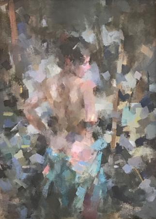 Female nude, standing, oil