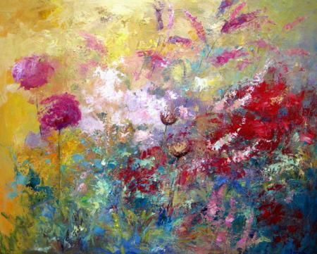 Flowers, reds, pinks, oil.