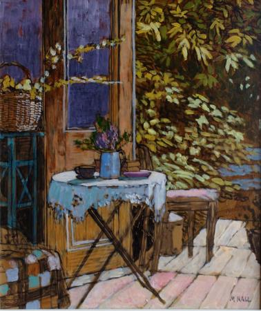 Garden with table and chairs, acrylic.