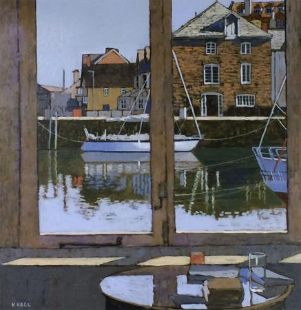 View through closed window, river, harbour, boats, acrylic.