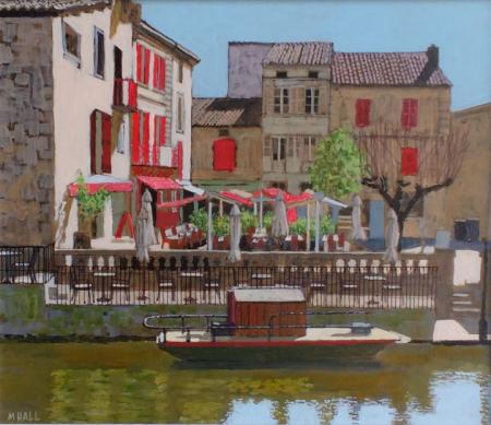View across river of cafe with red shutters, acrylic.