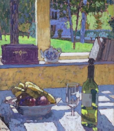 table with fruit and wine, garden view, acrylic.