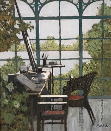 View of lake through studio window, easel and chair, acrylic.