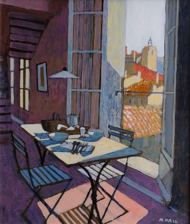 Table for 2, tall open window, view of roofs, acrylic.