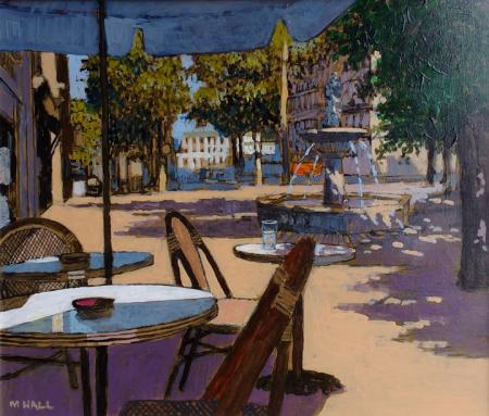 three chairs under umbrella, town square with fountain, acrylic.