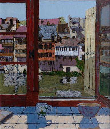 View through open window of buildings on opposite bank of river, acrylic.
