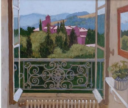 View through open french window, balcony, buildings and distant hills, acrylic.