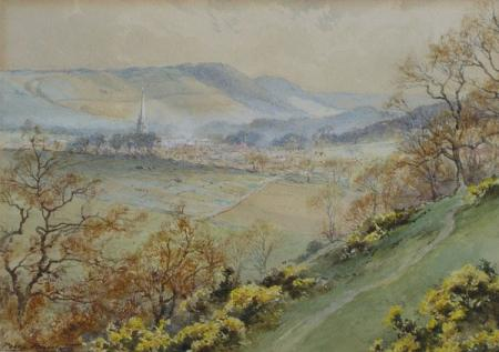 View across valley, dorking church, watercolour.