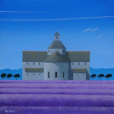 Abbaye, trees, purple field, distant mountains, acrylic.
