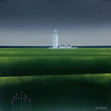 Lighthouse, field & sea, acrylic.