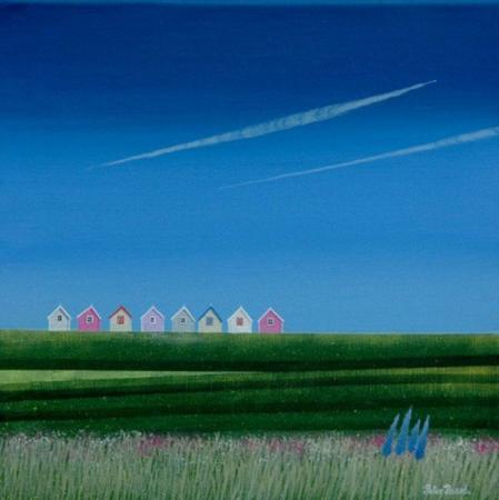 Eight beach huts on the horizon, big blue sky, vapour ytrails, acrylic.
