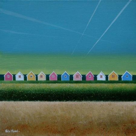 Eleven beach huts on the horizon, big blue sky, vapour trails, acrylic.