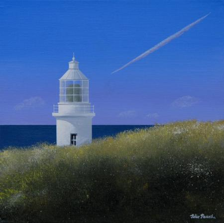 Top of lighthouse above grassy clifftops, blue sky, vapour trails, acrylic.