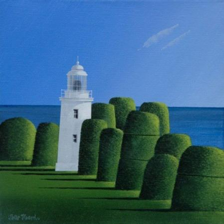 White lighthouse, sea, sky and topiary, acrylic.