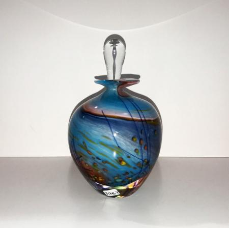 Perfume bottle with stopper, beach landscape design, glass.
