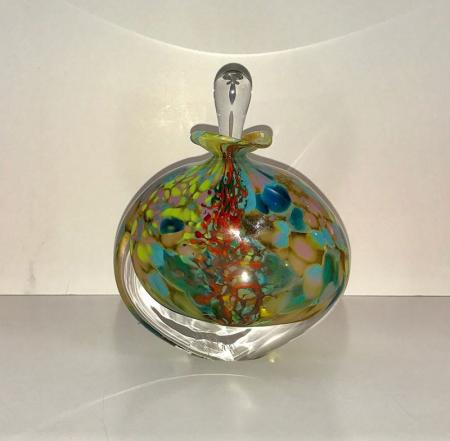 Perfume bottle with stopper, reef colours, glass.