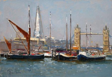 Barges, thames, tower bridge and the shard, oil.