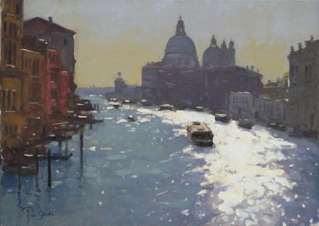 Dawn, canal view with cruiser, oil.