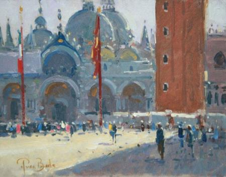 San marco piazza, morning light, venice, oil.