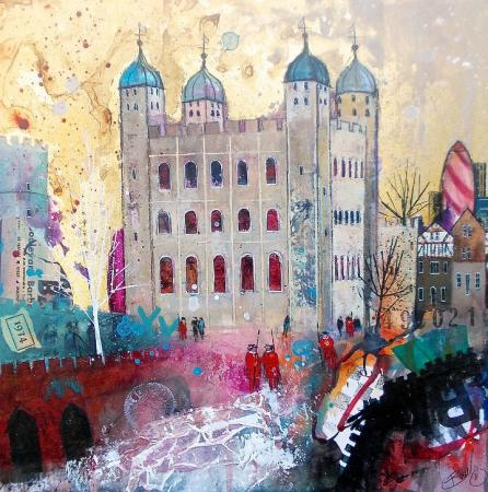 Tower of london, yeoman of the guard, gold leaf, mixed media.