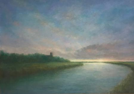 Peaceful view of blythburgh church, sunset, oil.