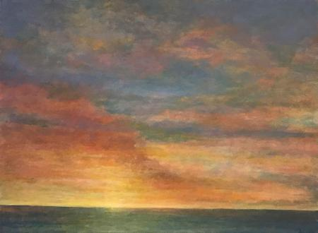 Looking out to sea, sunrise/sunset, oil.