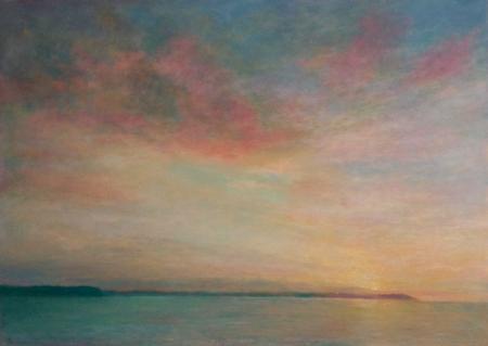 Sunrise/sunset over land, seaview, oil.